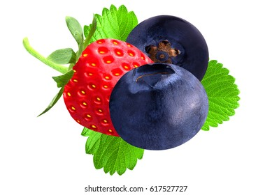 Strawberry and blueberry with leaf isolated on white background.