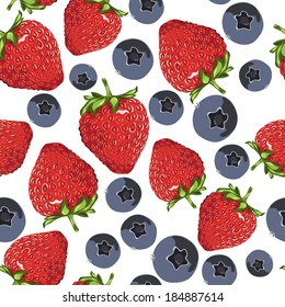 Strawberry and blueberry tile