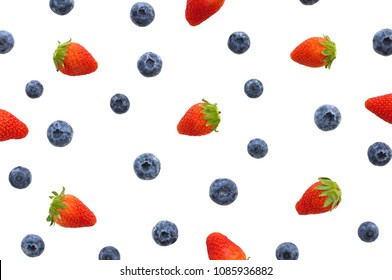 Strawberry and blueberry which are berries fruit isolated on white background and can use for wallpaper photo.