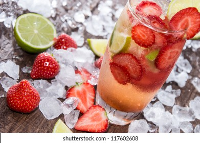 Strawberry Caipirinha with Crushed Ice and fresh Fruits