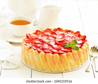 """Strawberry cake """"Charlotte"""". French cuisine."""