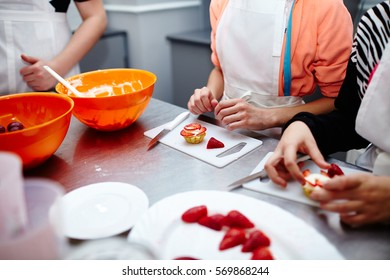 strawberry cake decoration. strawberry cake salver.strawberry cake decoration by mini heart on the table - dessert.making strawberry cake
