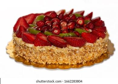Strawberry cake with hazelnut grain - White Background - Torta con fragole e granella di nocciole