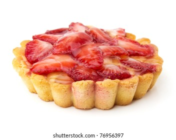 strawberry cake isolated on white