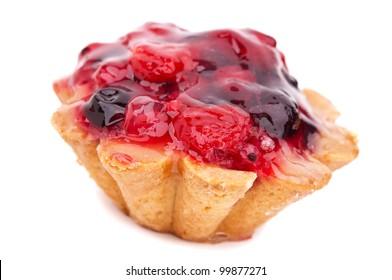 strawberry cake isolated on a white background