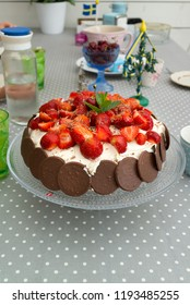 Strawberry cake on a table