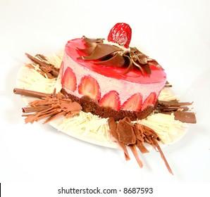 Strawberry cheesecake with chocolate