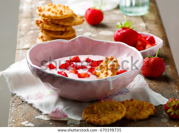 Strawberry cheesecake dip. .selective focus
