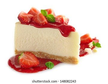 strawberry cheesecake and fresh berries isolated on white background