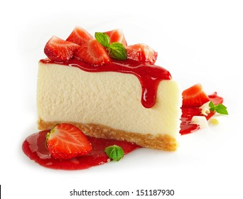 Strawberry cheesecake isolated on white background