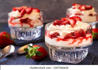 Strawberry Cheesecake parfaits in three glass cups