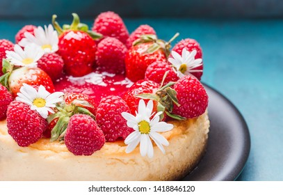 Strawberry Cheesecake in plate copy space.