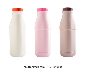 Strawberry, chocolate and fresh milk bottles isolated on white with clipping path