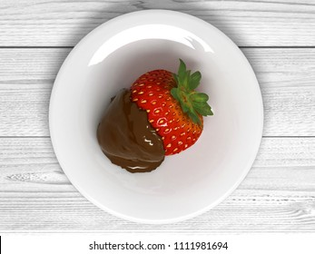 Strawberry in chocolate on a white plate. 3D illustration.