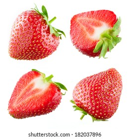Strawberry. Collection isolated on white