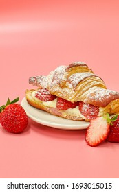 Strawberry croissant soft and creamy  cream Cheese with berry fresh strawberry bread, sweet dessert