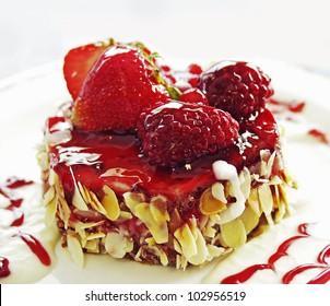 Strawberry - Currant Pie on a plate