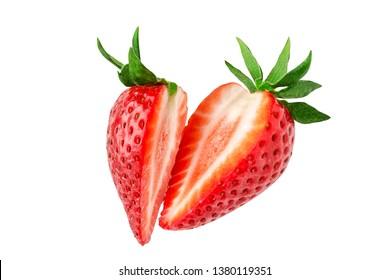 Erdbeere. Erdbeeren in Stücke schneiden. Erdbeeren schneidet in der Luft fliegen. Frische, natürliche Erdbeere einzeln.