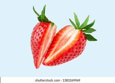 Strawberry. Cut strawberries into pieces. Strawberry slices flying in the air. Fresh natural strawberry isolated .