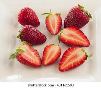 strawberry cut white