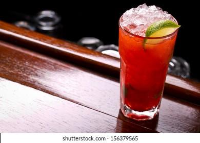 strawberry daiquiri cocktail on the bar