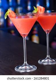 Strawberry Daiquiri cocktail on a bar counter