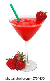 Strawberry daiquiri with strawberries and straw.  Isolated on white background.