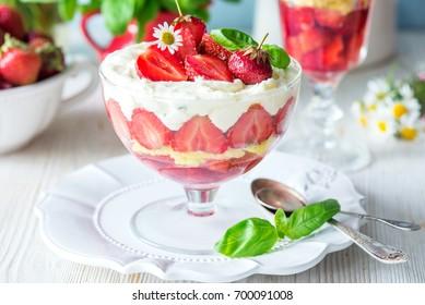 Strawberry dessert trifle in glass