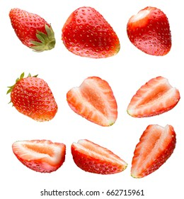 Strawberry in different positions isolated on white