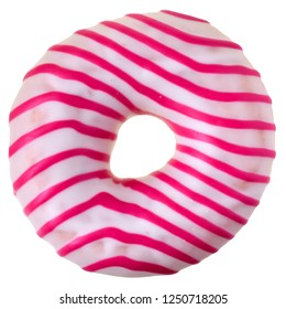Strawberry donut covered with pink icing Isolated on white background. Top view.