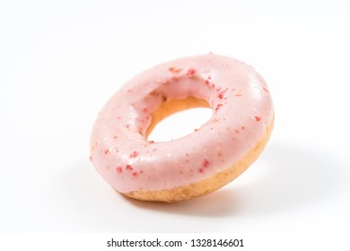 Strawberry donut on a white background.