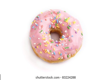 Strawberry donut on white background