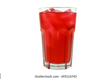 Strawberry favour soft drink in clear glass isolated on white background