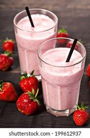 Strawberry fresh milkshake cold summer berry drink