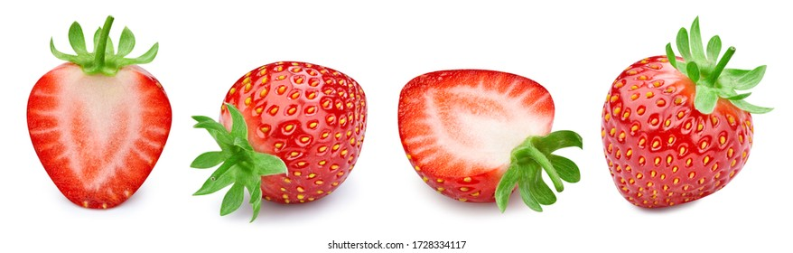 Strawberry. Fresh organic strawberry isolated on white background. Strawberry collection