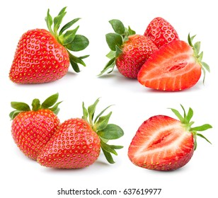 Strawberry fresh ripe berry isolated on white background