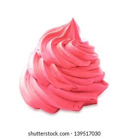 Strawberry frozen yogurt on white background