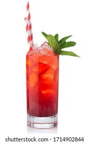 Strawberry fruit alcohol cocktail (Mojito) isolated on white