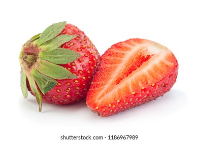 Strawberry fruit closeup isolated on white background