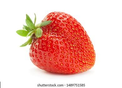 Strawberry fruit closeup isolated on white background