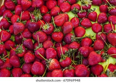 Strawberry fruit pile