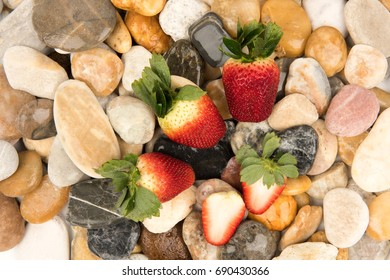Strawberry fruits on the rock.