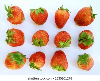 Strawberry fruits with white background, Phrae Thailand.