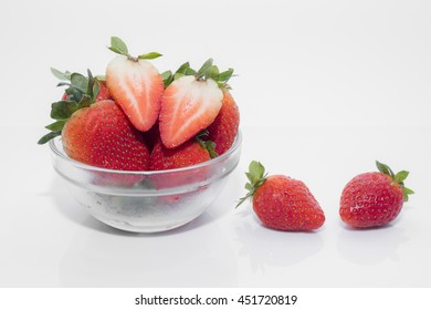 strawberry in glass bowl on white back ground. isolated