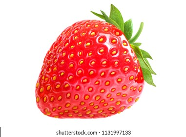 Strawberry with green leafs isolated on white