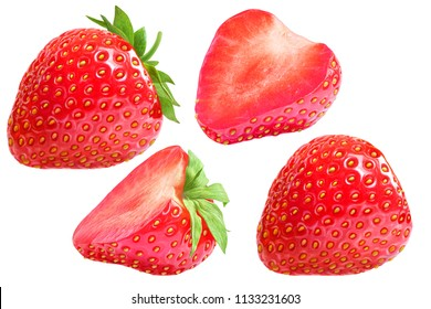 Strawberry group set. Isolated for clipping path.