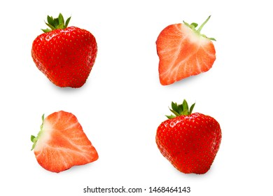 Strawberry half collection isolated on white background