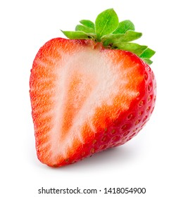 Strawberry half. Strawberry isolate. Strawberry on white background.