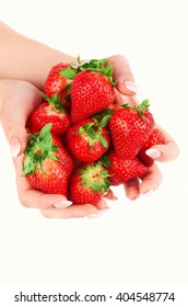 Strawberry in the hands isolated on the white background