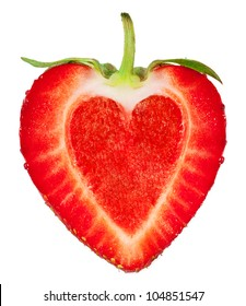 A strawberry with a heart inside. isolated on a white background